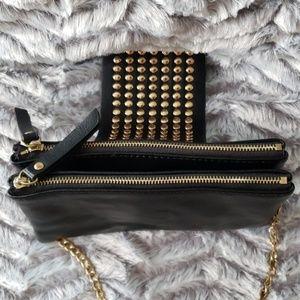Olivia Miller Black Leather Rocker Crossbody bag